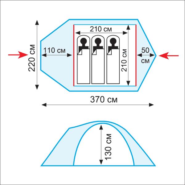 Схема палатки Tramp Lair 3